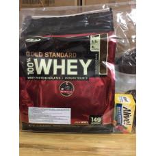 Whey 100% gold standard 10lbs + tặng bình+vitamin50v